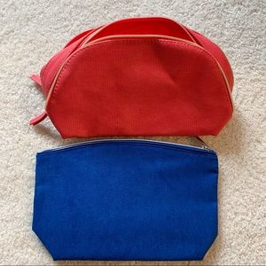 2 New Lancôme Cosmetic Bags, Blue and Orange
